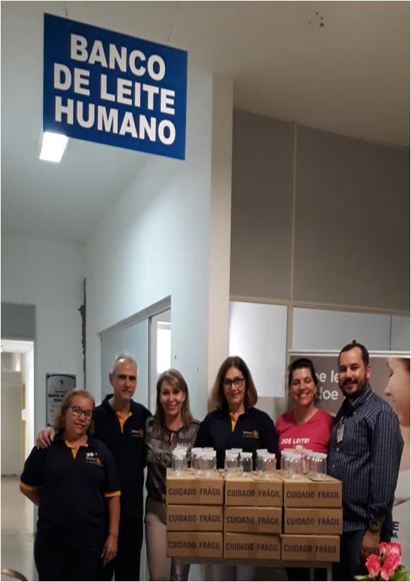 Doação de 200 vidros para coleta de leite humano para o Banco de Leite de Araçatuba